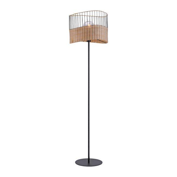 Vloerlamp Reed ijzer bamboe zwart naturel