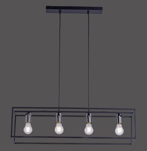 Hanglamp Fabrio rechthoek 4l metaal zwart