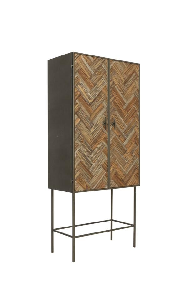 Kast 82x44,5x180 cm FISHBONE donker grijs+hout bruin