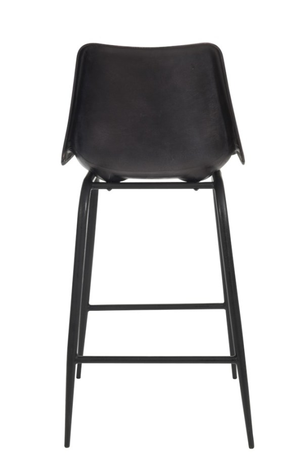 Barstoel Leder/Metaal Zwart