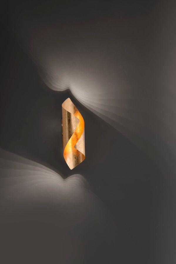 wandlamp Nevis led 480 lumen bladgoud metaal goud