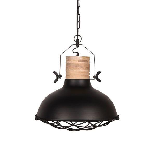 Hanglamp Grid mangohout naturel metaal zwart 34