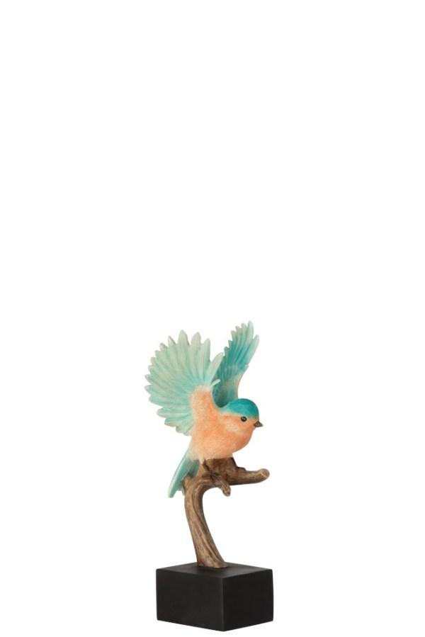 Vogel Op Tak Poly Zalm Azuur Small