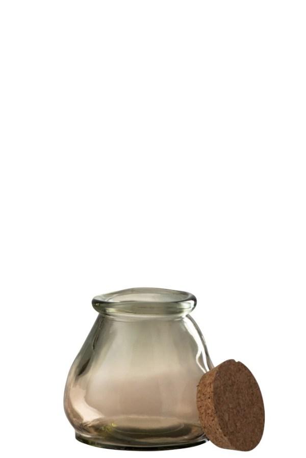 voorraadpot glas kurk bruin small