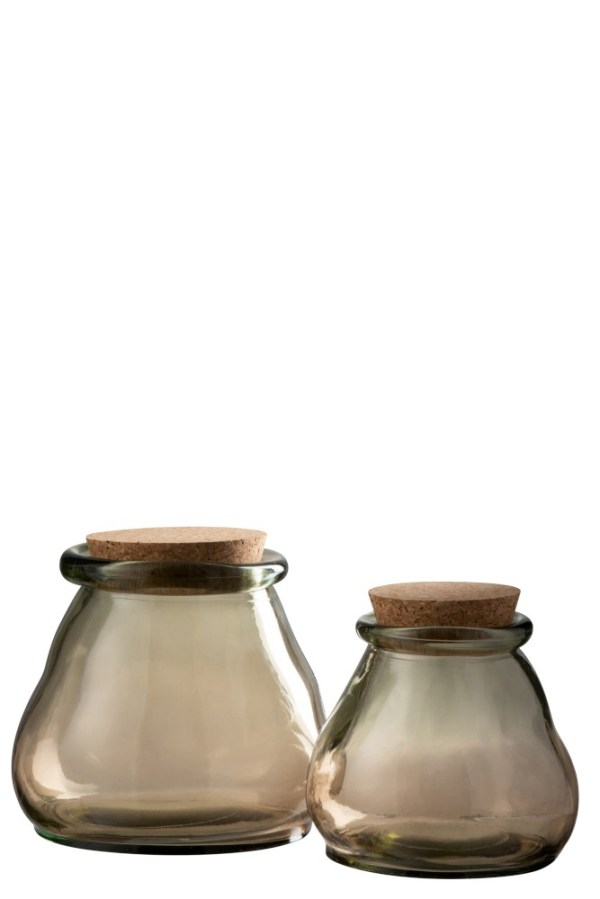 voorraadpot glas kurk bruin small + large