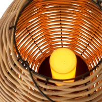 Lantaarn buiten Led vlam effect Gewoven Plastic Naturel Large