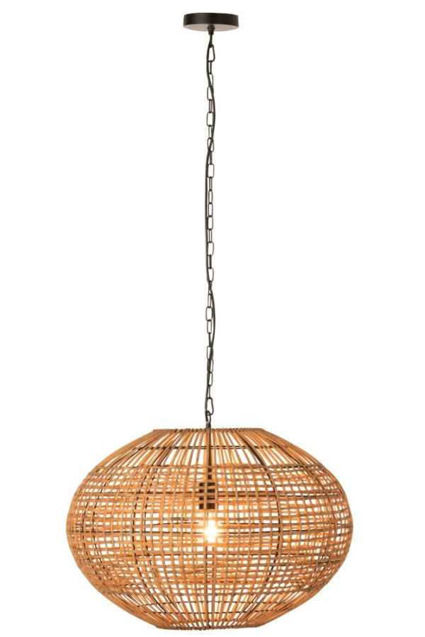 Hanglamp Driepoot Rotan Metaal Bruin Zwart