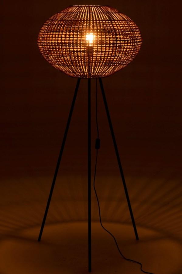 vloerlamp Driepoot Rotan Metaal Bruin Zwart large