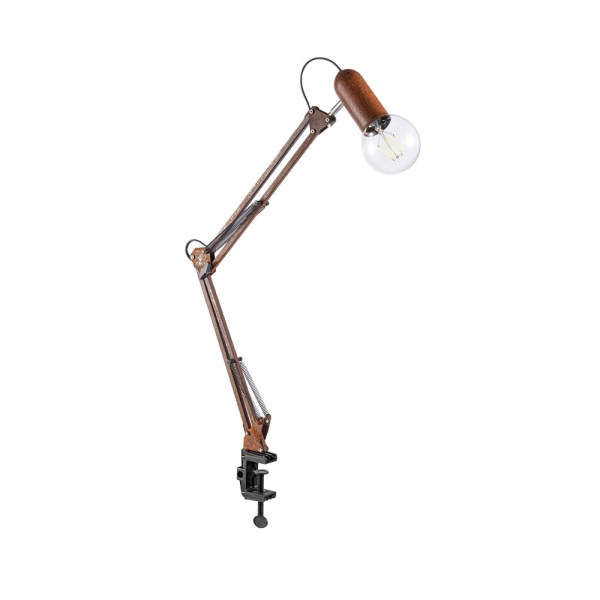 Klemlamp Industrieel roestkleurig klembeugel flexibele spot E27 fitting