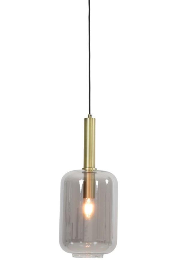 Hanglamp Ø22x32 cm LEKAR antiek brons+smoke glas