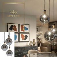 Dome Deco hanglamp 3 glazen bollen titanium glas met goud