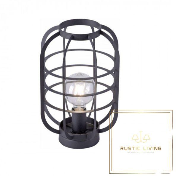 Tafellamp in zwart in industriële stijl en trendy kooilook