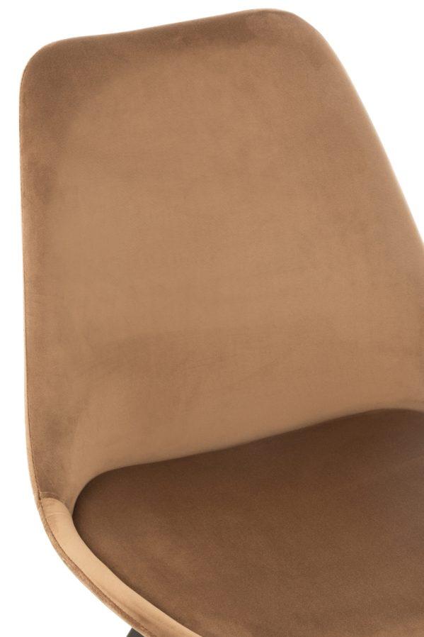 Stoel Helene Metaal Textiel fluweel Bruin