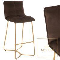 Barstoel Pierre Metaal goud Textiel fluweel donker bruin