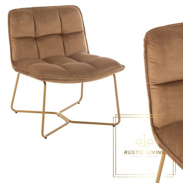 Lounge Stoel Lisa Metaal/Textiel Bruin
