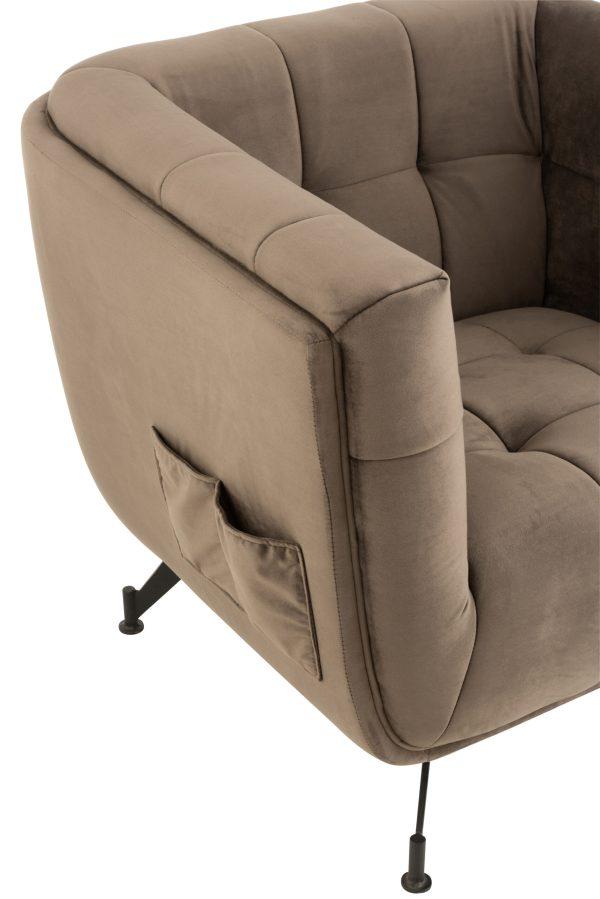 Loungezetel Zafira 1 zit textiel fluweel donker grijs hout metaal zwart
