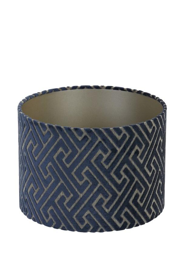Lampenkap maze fluweel donker blauw taupe 40cm