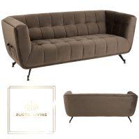 Loungezetel Zafira 3-Zit Textiel fluweel Donker Grijs Hout Metaal zwart