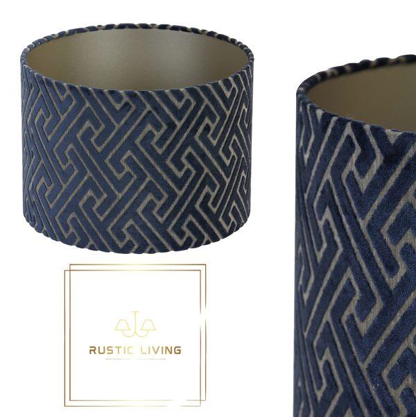 lampenkap maze fluweel donkerblauw taupe