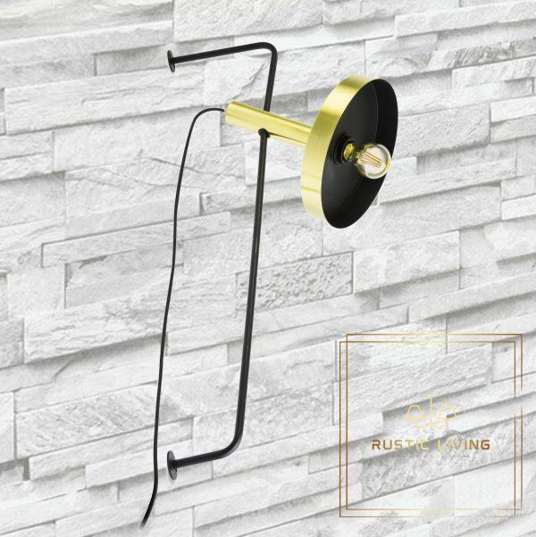 Whizz Design wandlamp satijn goud zwart staal