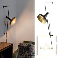 Whizz Design wandlamp zwart satijn goud staal