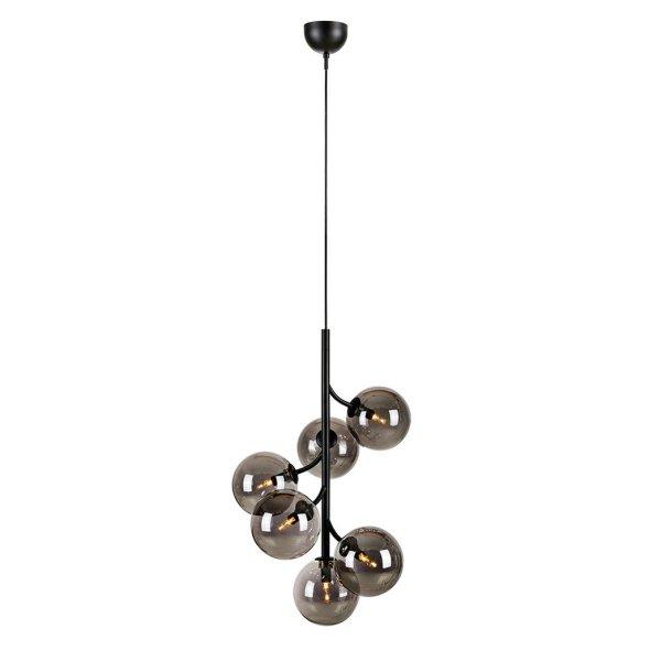 Hanglamp Callisto rond 6 lamp rook glas metaal zwart G9