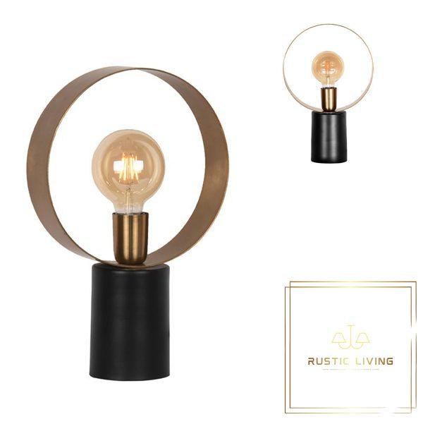 Tafellamp Ray rond antiek goud metaal zwart