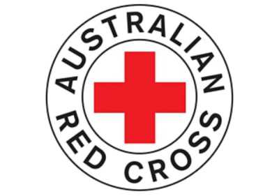 The logo of the Australian Red Cross - with a red cross in the middle.
