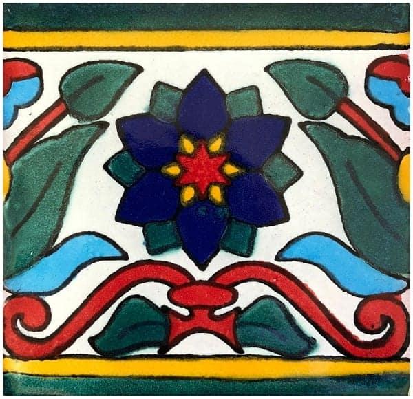 mexican ceramic talavera tile 6x6 la flor 45 hand painted tiles