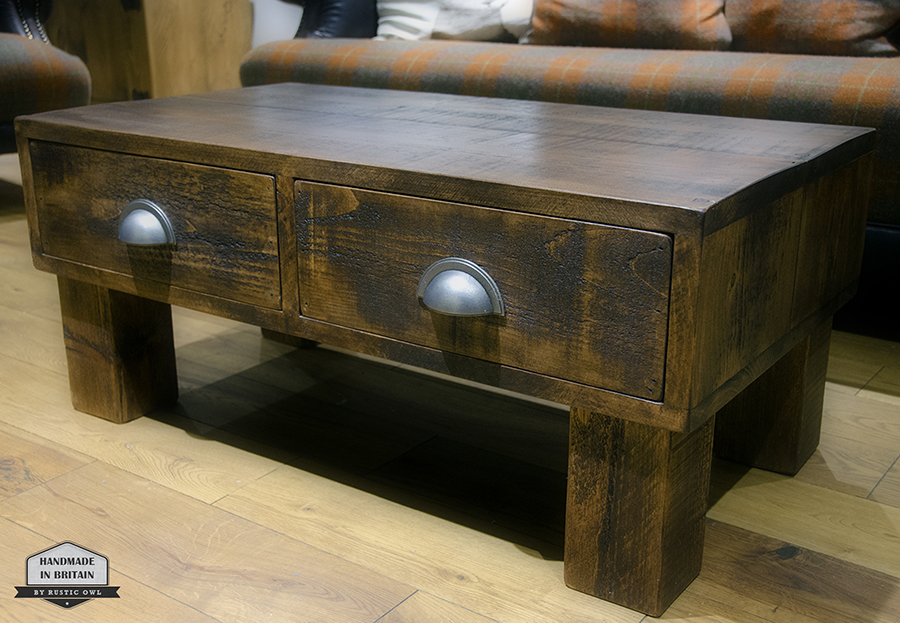 Push pull drawer coffee table rustic owl for 12 drawer coffee table