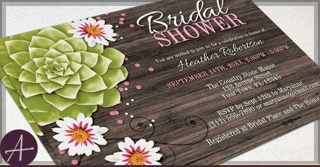 Rustic Succulent Invitations by A