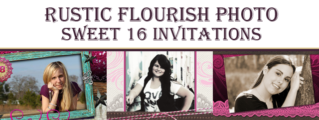 Rustic Flourish Photo Sweet 16 Invitations