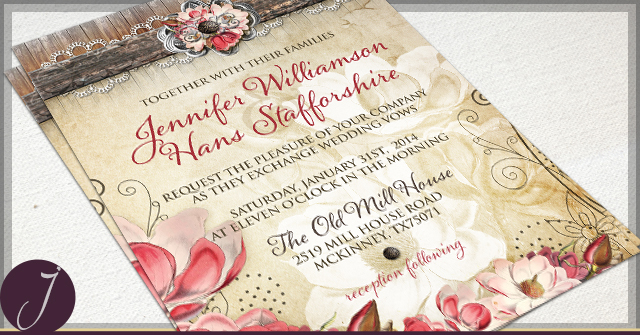 Rustic Magnolia Invitations by J