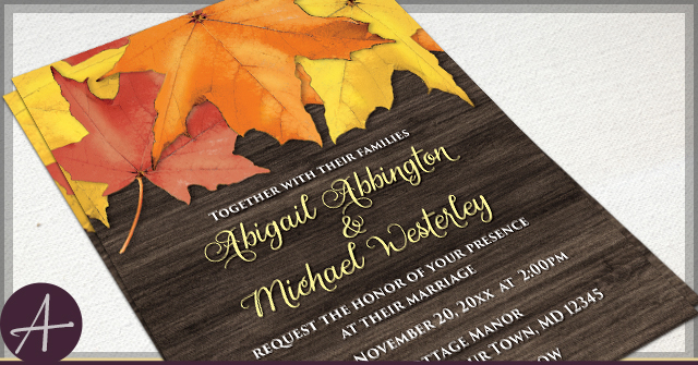 Rustic Autumn Leaves Wood Wedding Invitations