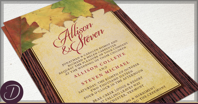 Rustic Autumn Wedding Invitations by D
