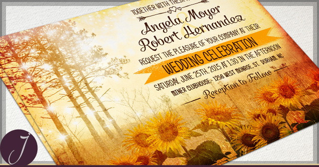 Rustic Autumn Wedding Invitations by J