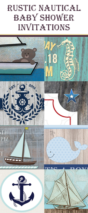 Rustic Nautical Baby Shower Invitations