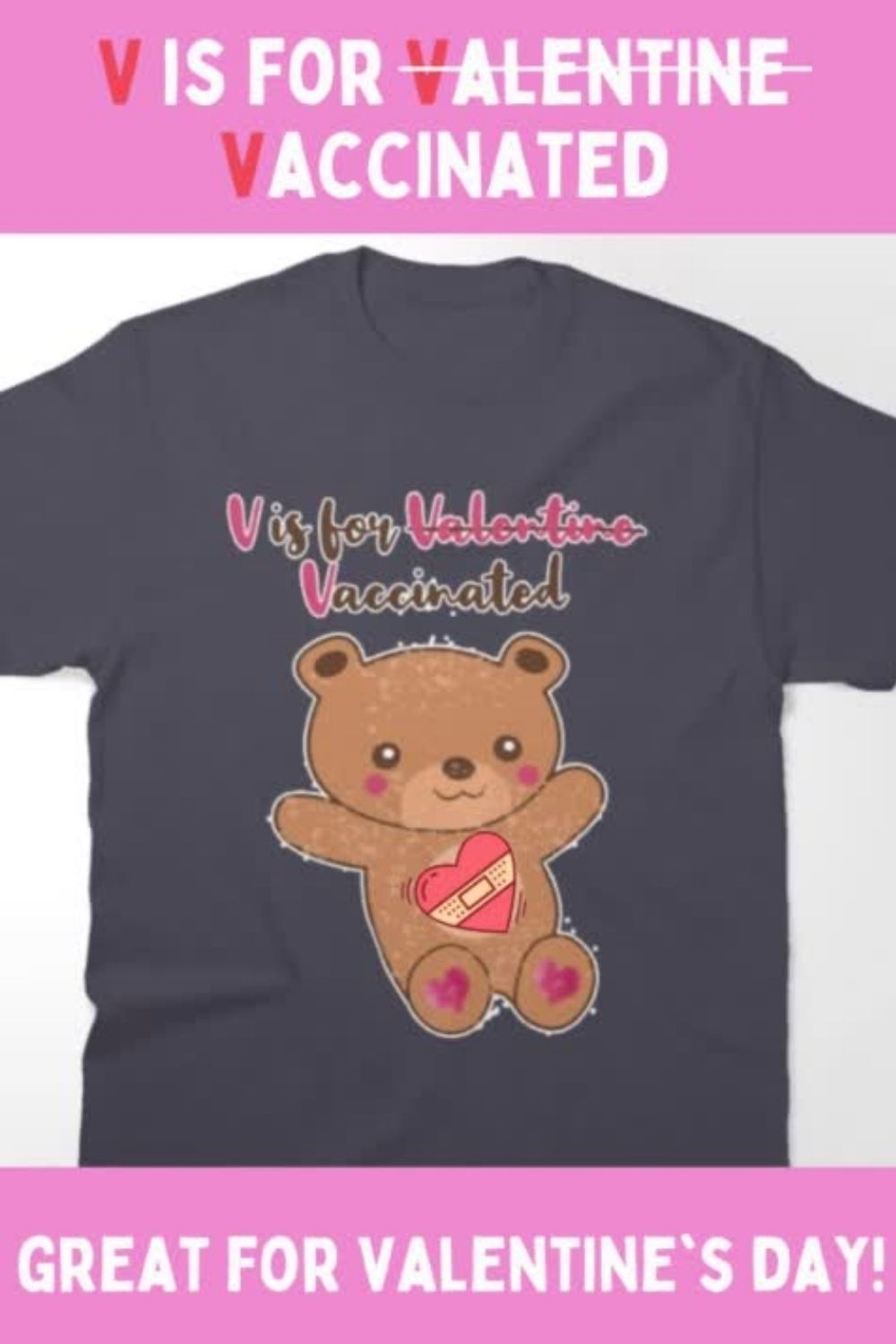 V is for Vaccinated Hug Me Bear pink