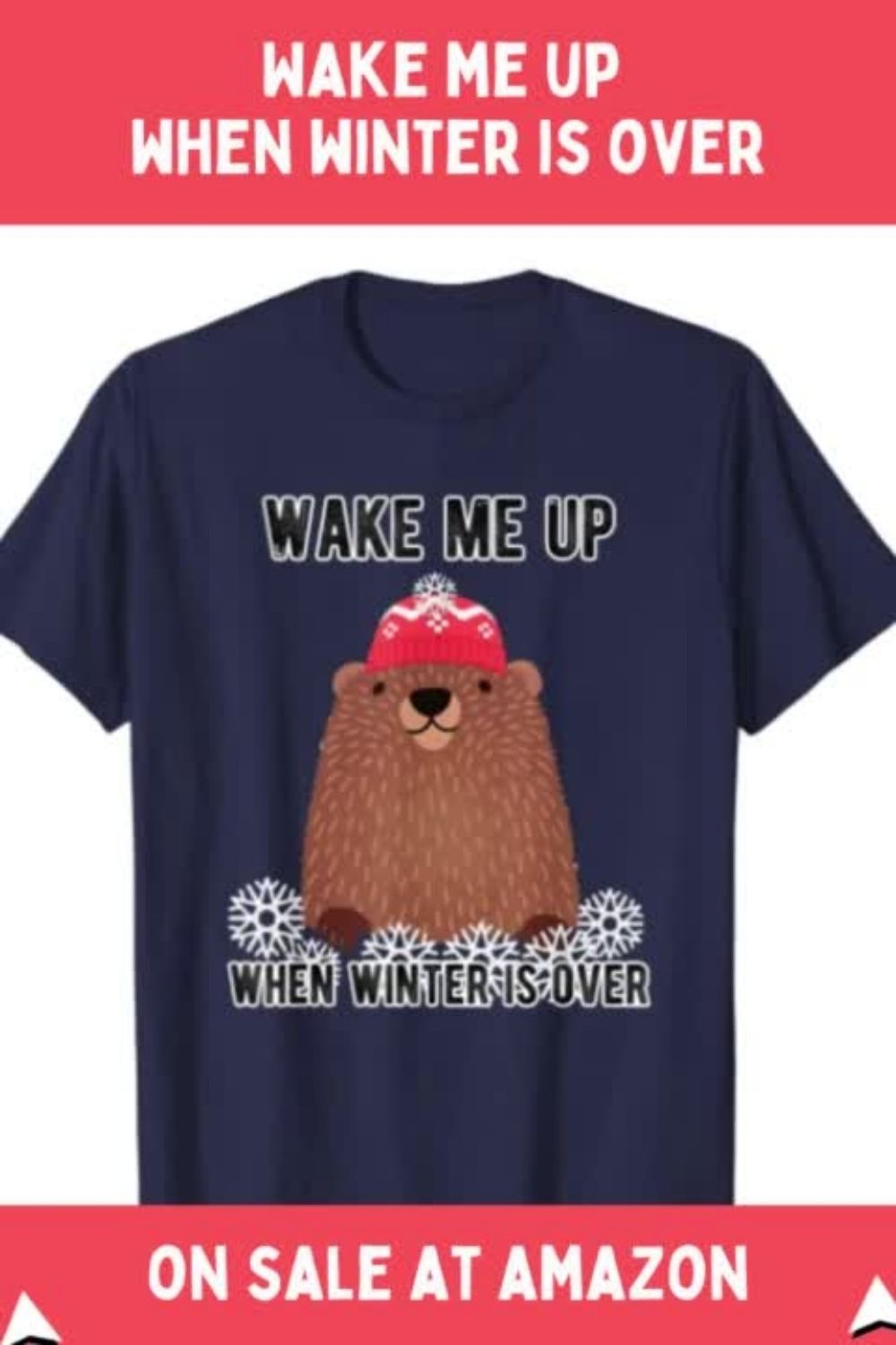 Wake Me Up When Winter is Over Groundhog TShirt Red