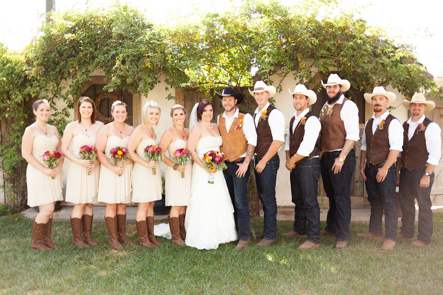Country Style Bridesmaid Dresses With Boots