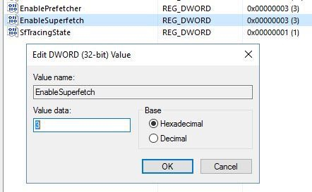 disable superfetch registry