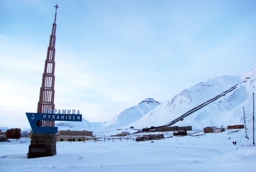 One day in the abandoned village Pyramid (Arctic, archipelago Svalbard)