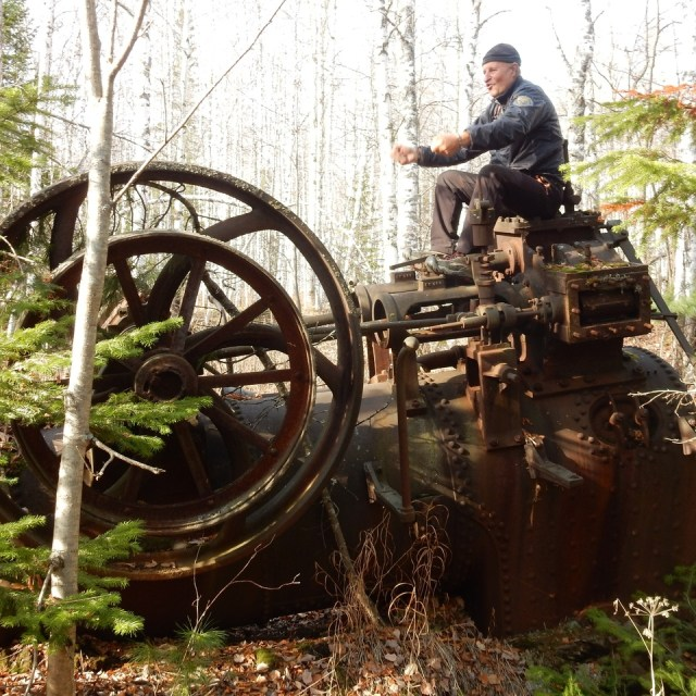 Old English Steam Machine in the Siberian Taiga