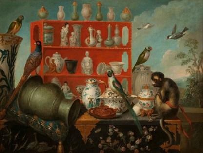 Peintre-anonyme-XVIIIe-siècle-Nature-morte-aux-porcelaines-et-aux-oiseaux-1725 30 105x139cm