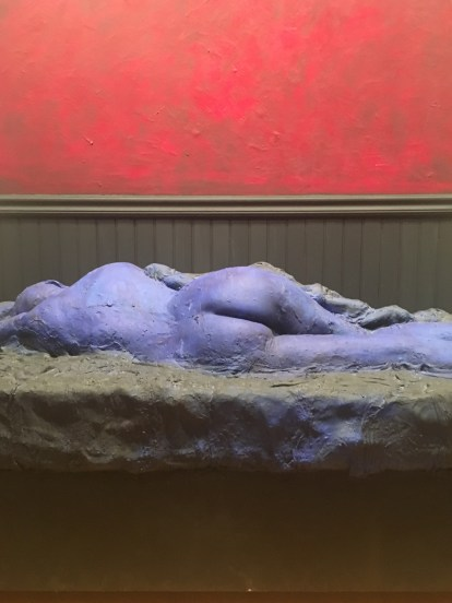 This sculpture by George Segal displays the contrast between a blue woman laying down in front of a red background. This abstract sculpture of a woman is much like the shameless portraits/selfies taken by celebrities like Kim Kardashian today. It is interesting to see how artists used to portray others in means that capture the authenticity of that person, and how selfies today are also used to portray what we feel is authentic about ourselves.