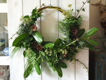Christmas foliage wicker wreath