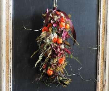Richly coloured dried flower swag