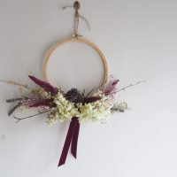 Small Wooden embroidery hoop with dried flowers
