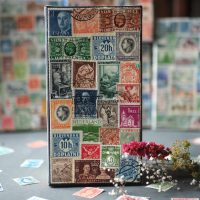 Decorative vintage stamp box