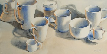"Which Cup is Yours?, watercolor, 11"" x 21.5"" Painted in March, this watercolor was the heading for my first newsletter (published in May), and sold immediately."